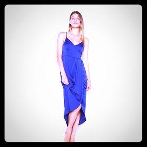 Royal blue silk faux wrap dress